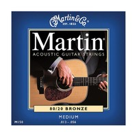 Martin Medium 80/20 Bronze Acoustic Guitar Strings (Blue)