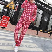 """Louis Vuitton"" Women Casual Fashion Letter Logo Print Long Sleeve Hooded Sweater Trousers Set Two-Piece Sportswear"