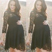 Puseky Black Lace Maternity Dresses Long Sleeve Pregnancy Dresses Clothes for Pregnant Women Auntumn