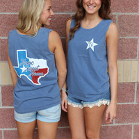 Texas home sweet home flag f/b comfort colors tank top