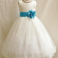Flower Girl Curly Bottom Dress Ivory with Turquoise for Easter Wedding Bridesmaid