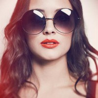Black Oversized Round Sunglasses - The Janis from SHEVAMPS