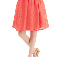 ModCloth Vintage Inspired Mid-length High Waist A Presh Start Skirt in Coral