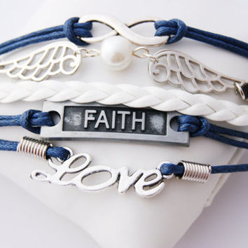 5 Strand Blue and White Infinity Faith Love Wings Faux Leather Braid Cord Bracelet (Adjustable Sizing)