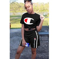 Champion fashion brand casual women's casual letter printing set two-piece black