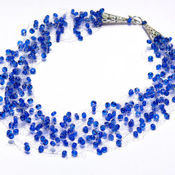 Blue Necklace. Wedding Necklace.Bridal Necklace. Bridesmaid Necklace. Beadwork. Multistrand Necklace.