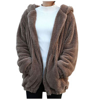 2016 Women Girls Winter Loose Cute Bear Ear Hoodie Hooded Jacket Warm Outerwear Coat
