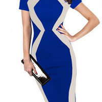 Womens Optical Illusion Colorblock Contrast Slim Work Casual Dress