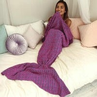 new knitted sofa bedding mermaid tail blanket home christmas gift  number 1