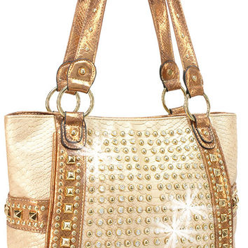 * Rhinestone Accent Studded Tote In Gold
