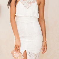 White Sleeveless Floral Lace Overlay Bodycon Dress with Slit