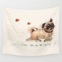 The Furminator pug watercolor like art Wall Tapestry by Thubakabra