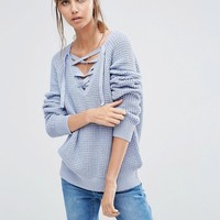 Vila Lace Up Knit Jumper at asos.com