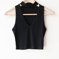 Choker V-neck Crop Top