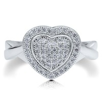 Sterling Silver 925 Heart Shaped Micro Pave Cubic Zirconia CZ Ring #r495