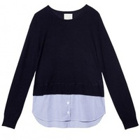 Band of Outsiders Navy Layered Cashmere Sweater - Navy Sweater - ShopBAZAAR