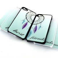 WHITE Snap On Case IPHONE 5 Plastic Cover - BEST FRIENDS DREAMCATCHER (MATCHING CASE) ombre forever infinity bff set ombre tribal feather