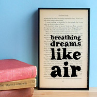 The Great Gatsby quote Breathing Dreams vintage book page framed print