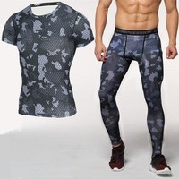 Men MMA Muscle Tracksuit Compression Sport T Shirt Pant Sets Fitness Short Sleeeve Shirt Leggings Crossfit Trainning Clothing