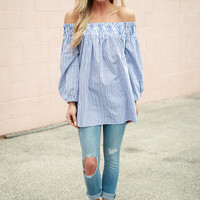 By The Seashore Off the Shoulder Stripe Top