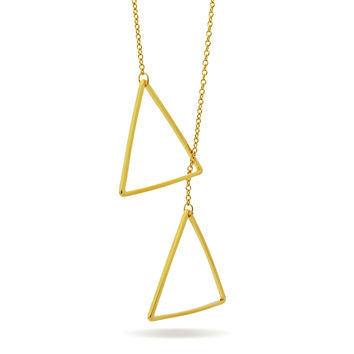 Triangle Lariat Necklace, 14K Gold Plated Geometric Modern Triangle Necklace, Minimal Necklace