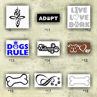 DOG vinyl decals - 10-18 - custom car window stickers - personalized vinyl stickers - car decal - adopt a pet sticker - live love bark decal