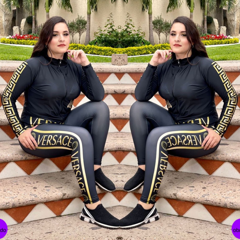 Image of Versace Women Casual Round Collar Top Pants Set Two-Piece