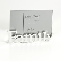 """Silver Plated """"Family"""" Picture Frame"""