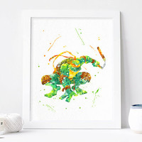 TMNT art, Teenage Mutant Ninja Turtle Michelangelo Watercolor Print tmnt Poster Teenage Mutant Ninja Turtle wall art, ninja turtles nursery