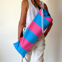 Pink & Turquoise YOGA / PILATES MAT carry bag.......quilted  100 % cotton canvas...handmade x