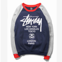 Stussy Stitching Color Long Sleeve Sweatershirt Pullovers
