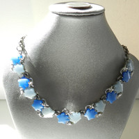 Vintage 1950s Two tone Blue Thermoset necklace Light blue Dark blue stars or flowers silvertone necklace Jewelry Jewellery