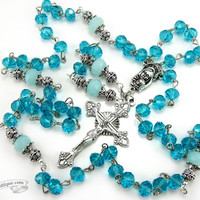 Turquoise Crystal Rosary, first communion gift, confirmation rosary, Baptism Gift, catholic rosary, christening gift blue birthstone rosary