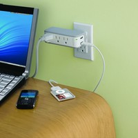 Mini Travel Swivel Charger Surge Protector with Dual USB Ports