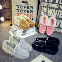 Free Shipping 2017 Ug Style Women Australia Classic Snow Boots Winter Warm Leather Women Flats Warm Shoes Genuine ankle Boots