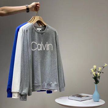 """""""Calvin Klein""""Unisex Solid Color All-match Personality Casual Letter Fashion Letter Logo Long Sleeve Sweater Tops"""