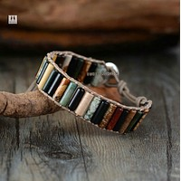 Unique Tube Shape Natural Stones Single Leather Wrap Bracelets Handmade Bohemian Weaving Bracelet
