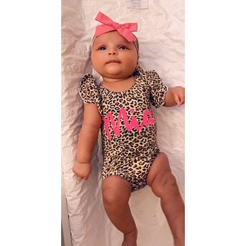Leopard Ruffle Sleeve Custom Name Onesuit - Mia Grace Designs