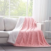 DaDa Bedding Luxury Blossom Rose Buds Cherry Blossom Pink Faux Fur w/ Sherpa Backside Throw Blanket (BL-171752)
