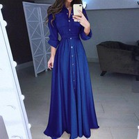 Solid Button Stand Neck Women Dress Shirt Elegant Chiffon Long Dress Casual Bow Belt Tie Long Dresses