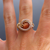 Sunstone wire wrapped ring/  heady wrap ring/ orange crystal healing stone/ size 6.5 handmade art jewelry by nick cooney