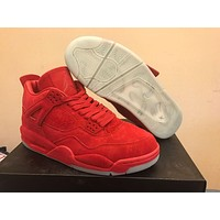 KAWS x Air Jordan 4 Red Basketball Shoes Men Best Quality Suede 4S IV sports shoes sneakers Sports Sneakers With Shoes Box