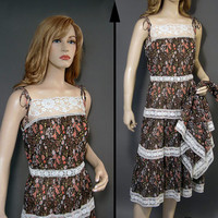 Vintage Dress 70s Calico Tiered Lacy Sun Dress Matching Scarf Brown Floral M