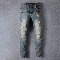 European American Style 2017 famous brand mens jeans luxury men denim trousers Slim Straight Patchwork blue hole jeans pants