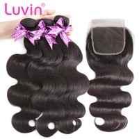 Luvin Malaysian Body Wave Bundles With Closure 3 4 Bundles Hair Extension Weaves Human Hair With Closures 30 Inch Bundles Weave