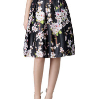 Black Floral Print High Waist Pleated Midi Skater Skirt
