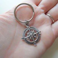 Compass Keychain or Compass Necklace, Graduation Gift, Gift for Graduation, Couples Gift, Husband Wife, Girlfriend Boyfriend Keychains,