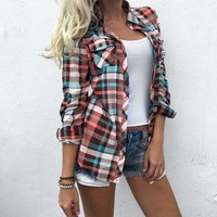 Hot Plus Size Women Blouse Tops Plaid Pocket Turn-Down Collar Shirt Spring Autumn Full Long Sleeve Pockets Casual Ladies Tops