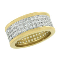 Mens Engagement Band Ring Gold Over Stainless Steel Simulated Diamond Party Wear