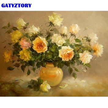 GATYZTORY Frame Yellow Flowers DIY Painting By Numbers Kits Modern Wall Art Canvas Painting For Living Room Home Decor 40x50cm